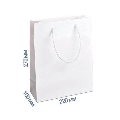 Фото товара Пакет подарочный 270x220x100 (цвет белый) 160 г/м2