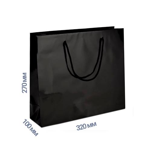 Фото товара Пакет подарочный 270x320x100 (цвет черный) 160 г/м2