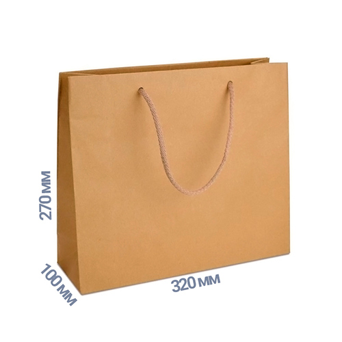 Фото товара Пакет подарочный 270x320x100 (цвет крафт) 170 г/м2