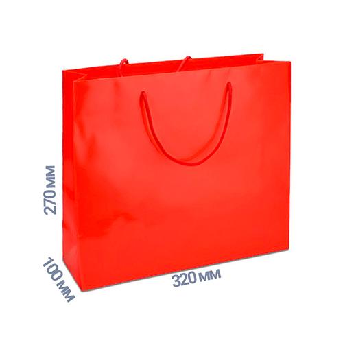 Фото товара Пакет подарочный 270x320x100 (цвет красный) 160 г/м2