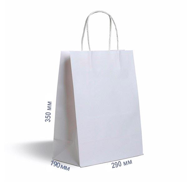 Фото товара Бумажный крафт пакет с ручкой белый 350х290х190