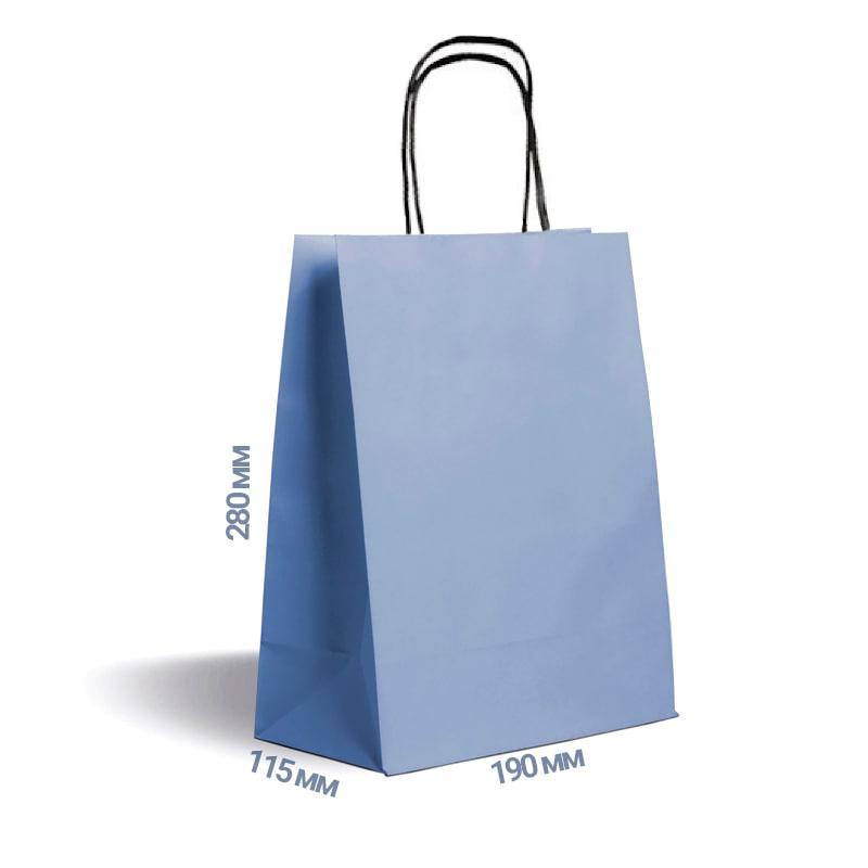 Фото товара Голубой крафт пакет 280х190х115мм с ручками