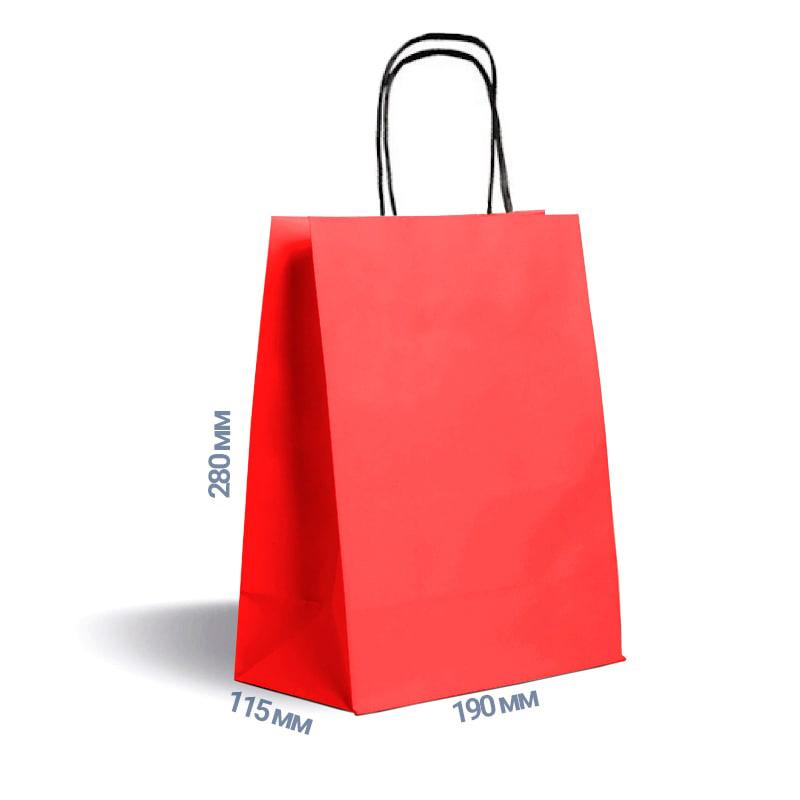 Фото товара Красный крафт пакет 280х190х115мм с ручками