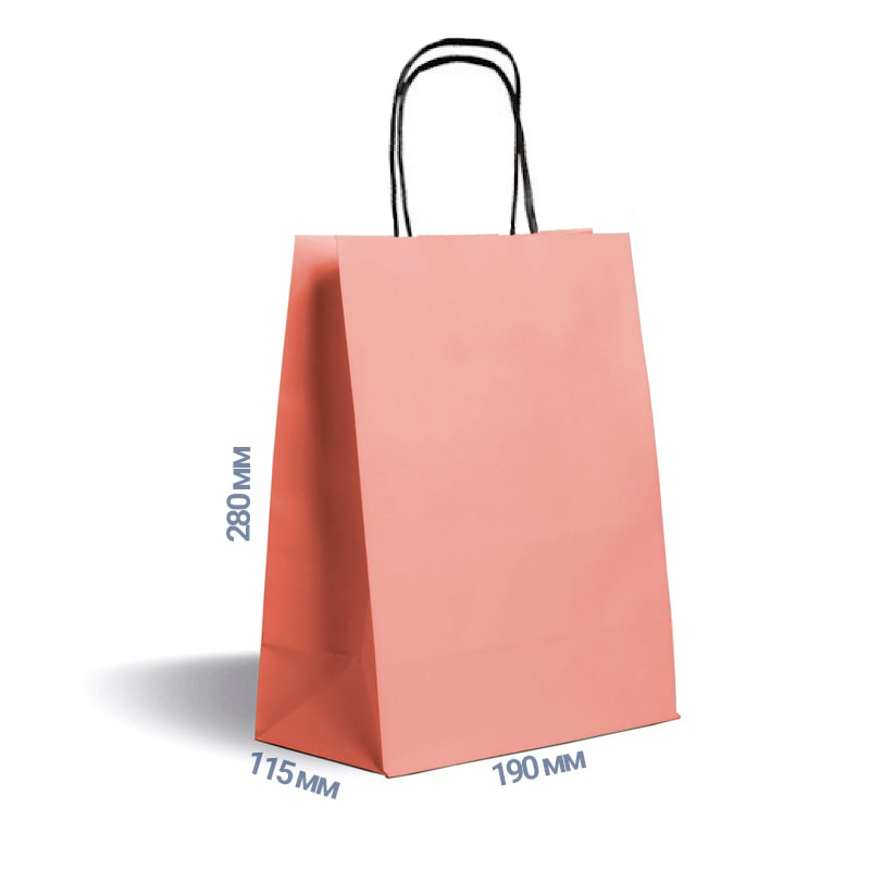 Фото товара Розовый крафт пакет 280х190х115мм с ручками