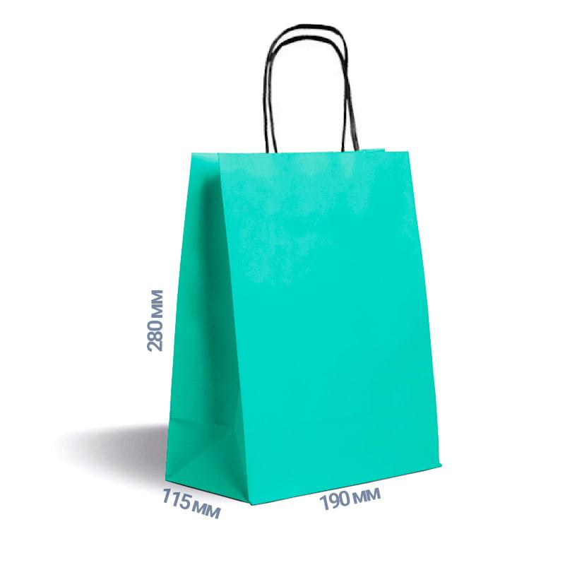 Фото товара Зеленый крафт пакет 280х190х115мм с ручками