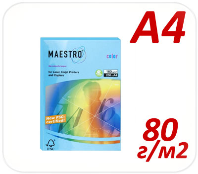 Фото товара Цветная бумага интенсив Maestro Color 48 aqua blue А4 80г/м2