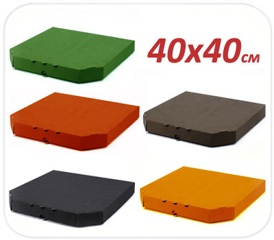 Фото товара Гофрокоробка для пиццы трехслойная цветная 400х400х40мм
