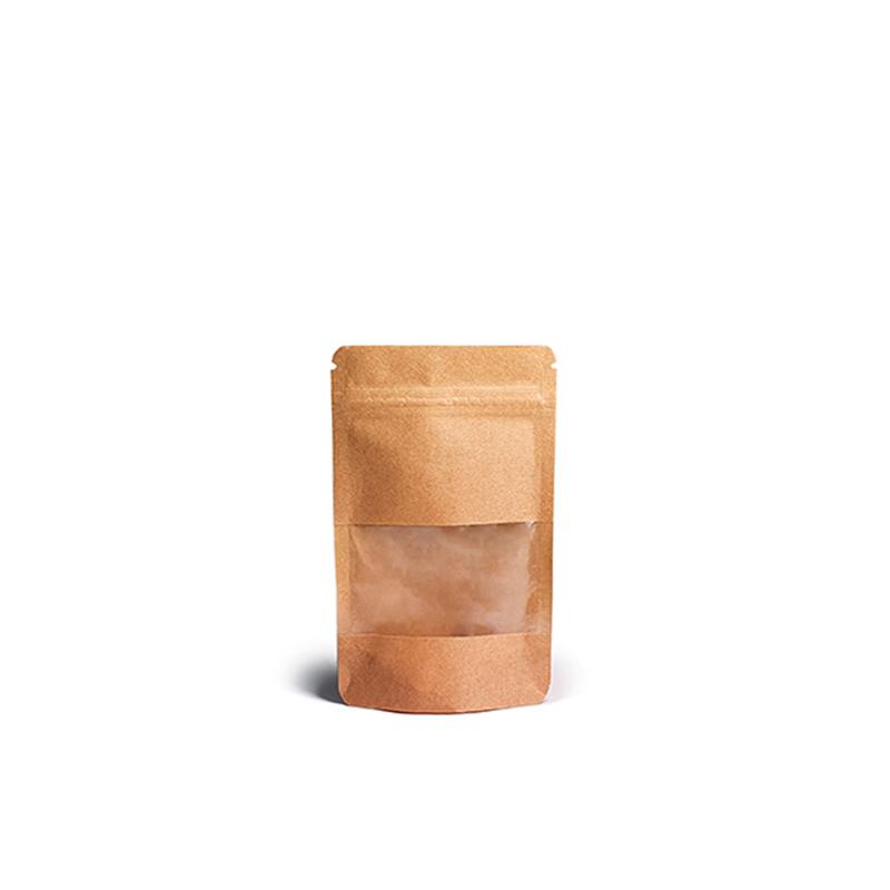 Фото товара Крафт пакет Дой пак + zip замок, с окном, 130х80х20 (20 г)