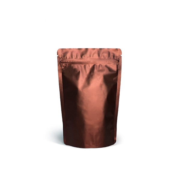 Фото товара Дой пак + металл, zip замок, коричневый, 200х130х64 (100 г)