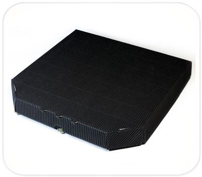 Фото товара Гофрокоробка для пиццы черная (ребристая сторона налицо)