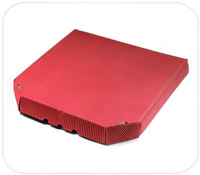 Фото товара Гофрокоробка для пиццы красная (ребристая сторона налицо)