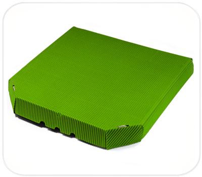 Фото товара Гофрокоробка для пиццы зеленая (ребристая сторона налицо)