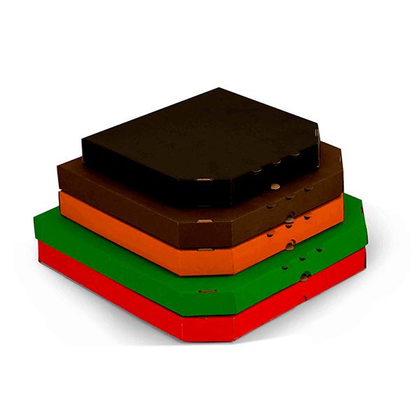 Фото товара Гофрокоробка для пиццы трехслойная цветная 450х450х40мм