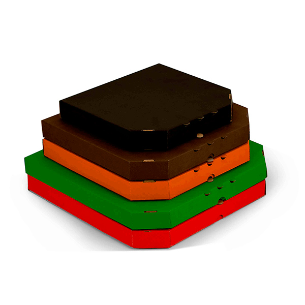 Фото товара Гофрокоробка для пиццы трехслойная цветная 330х330х35мм