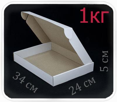 Фото товара Коробка микрогофрокартон 34х24х5 см (белая, 1 кг)
