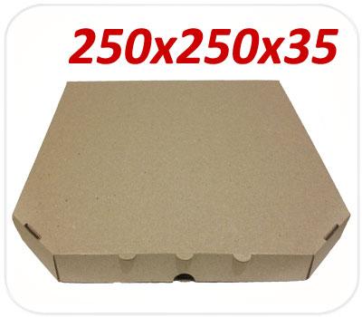 Фото товара Коробка для пиццы коричневая 250х250х35 мм