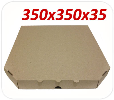 Фото товара Коробка для пиццы коричневая 350х350х35 мм