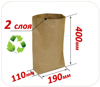 Фото товара Двухслойный крафт мешок 400х190х110 мм
