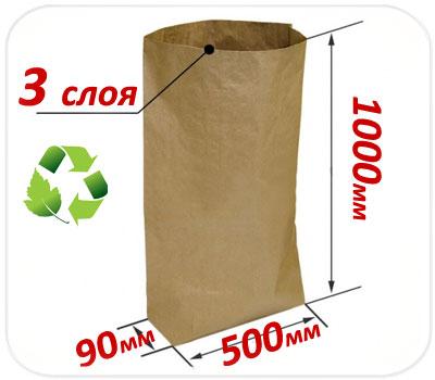 Фото товара Трехслойный крафт мешок 1000х500х90 мм