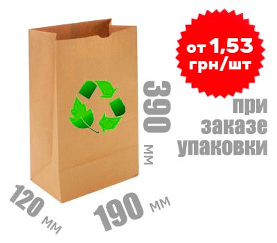 Фото товара Бумажный крафт пакет 390х190х120