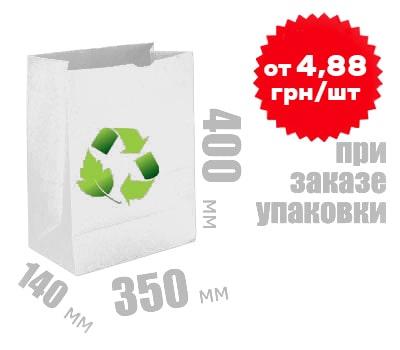 Фото товара Белый крафт пакет 400х350х140