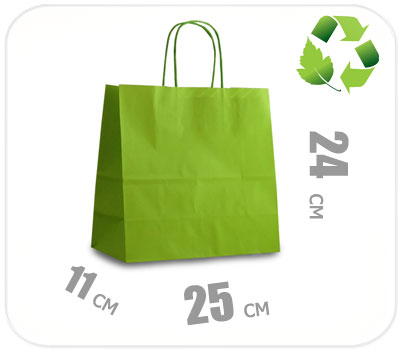 Фото товара Светло-зеленый крафт пакет 250х110х240мм