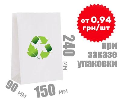 Фото товара Белый крафт пакет 240х150х90