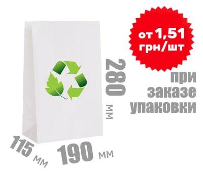 Фото товара Белый крафт пакет 280х190х115