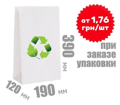 Фото товара Белый крафт пакет 390х190х120