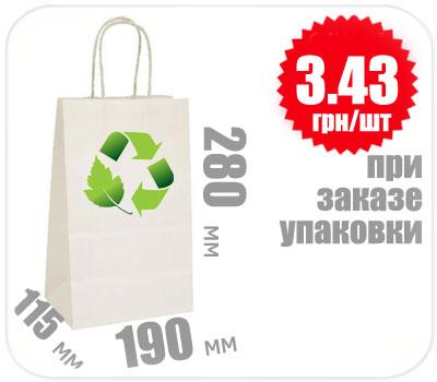 Фото товара Бумажный крафт пакет с ручкой белый 280х190х115