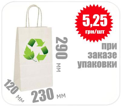 Фото товара Бумажный крафт пакет с ручкой белый 290х230х120