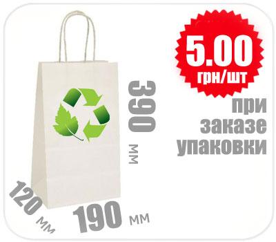 Фото товара Бумажный крафт пакет с ручкой белый 390х190х120