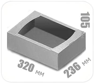 Фото товара Гофролоток бело-серый 320х236х105 мм