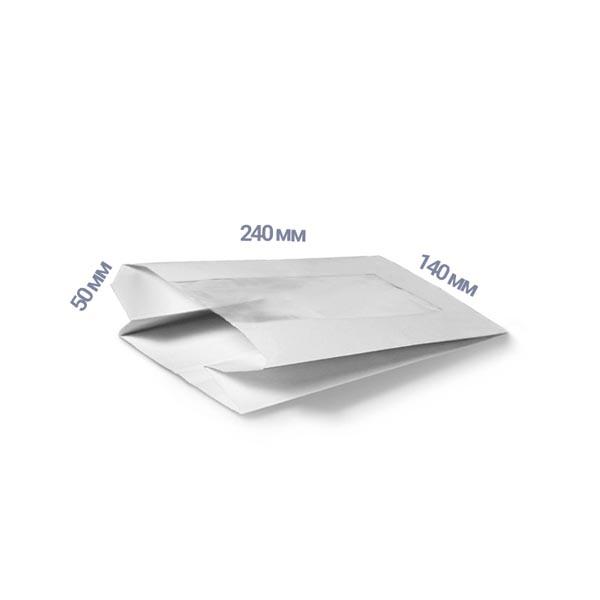 Фото товара Пакет-саше с окном 240х140х50 мм белый