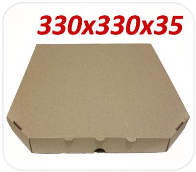 Фото товара Коробка для пиццы коричневая 330х330х35 мм