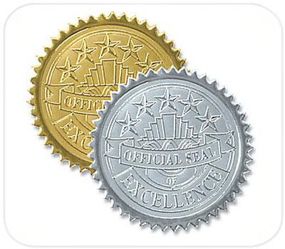 Фото товара Лейблы для рельефной печати (золото/серебро)