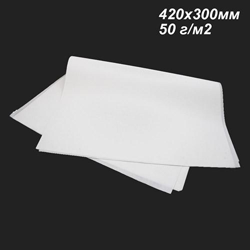 Фото товара  Белый пергамент жиростойкий 50 г/м2 в листах 420х300мм (Пачка 5/10 кг)