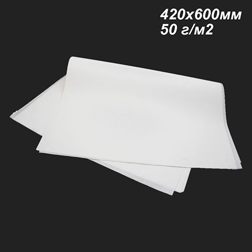Фото товара Белый пергамент жиростойкий 50 г/м2 в листах 420х600мм (Пачка 5/10 кг)
